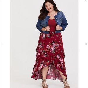 Red Floral maxi lo hi skirt